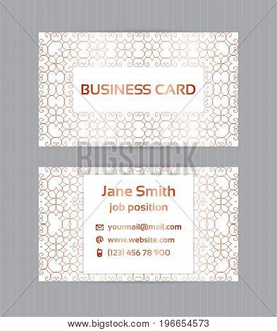Two Sided Business Card With Golden, Metallic Decoration On White Background.vector Template For Bus