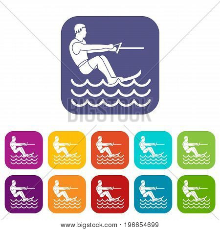 Water skiing man icons set vector illustration in flat style in colors red, blue, green, and other