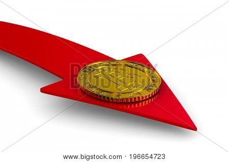 coin bitcoin and arrow on white background. Isolated 3D illustration
