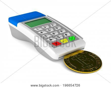 payment terminal and bitcoin on white background. Isolated 3d illustration