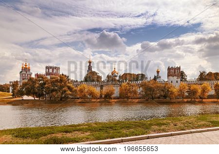 View of the Novodevichy monastery in Moscow. Tinted in autumn colors.