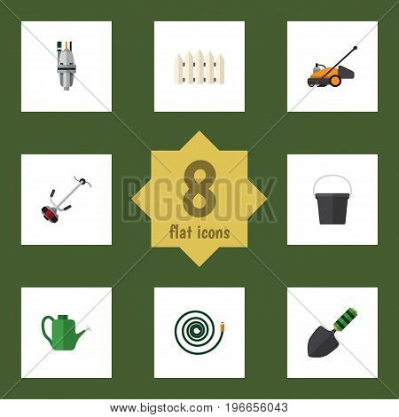 Flat Icon Dacha Set Of Wooden Barrier, Grass-Cutter, Trowel And Other Vector Objects