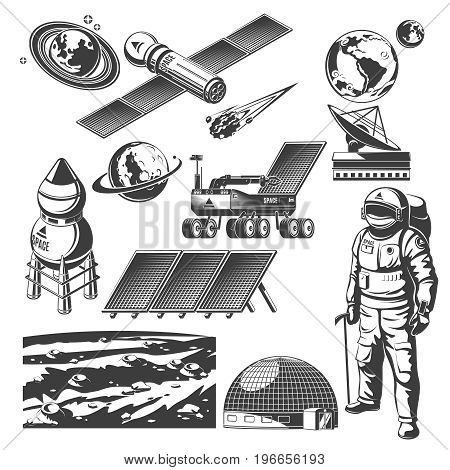 Vintage space elements collection with spaceships radar astronaut lunar rover solar panels meteor planets Mars surface landscape isolated vector illustration