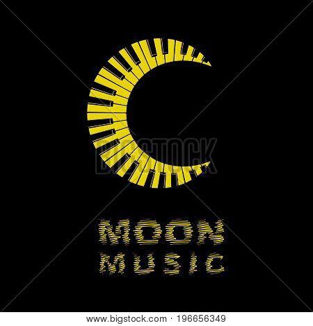 Moon logo piano keyboard music icon. Simple illustration of moon logo as music piano keyboard for web