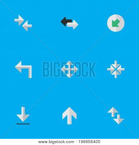 Elements Upwards, Inside, Export And Other Synonyms Enlarge, Northwestward And Export.  Vector Illustration Set Of Simple Pointer Icons.