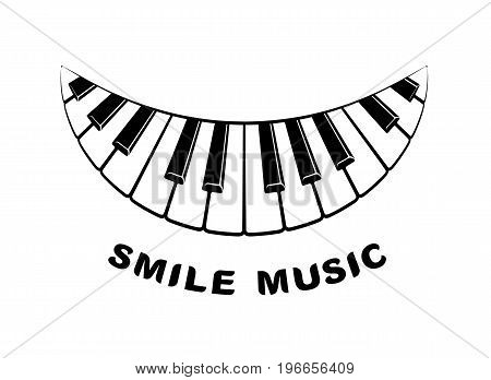 Music logo piano smile icon. Simple illustration of music logo piano keyboard smile for web