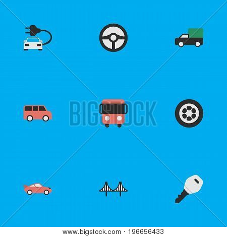 Elements Family, Open, Coupe And Other Synonyms Rudder, Jumper And Key.  Vector Illustration Set Of Simple Traffic Icons.