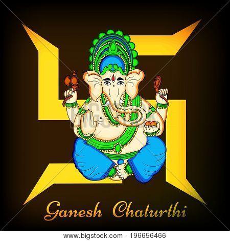 illustration of Hindu God Ganesh on swastik background with Ganesh Chaturthi text on the occasion of Hindu Festival Ganesh Chaturthi