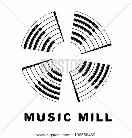 Music logo piano keyboard as wind mill icon. Simple illustration of music logo piano keyboard wind mill for web