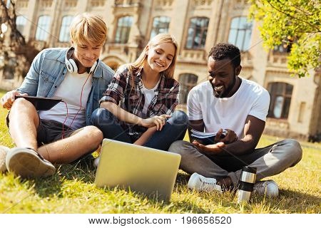 Collective effort. Young intelligent committed friends gathering in the park and sitting on the grass while studying for the finals together