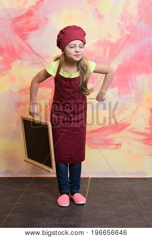 Chef Child In Apron On Colorful Background.