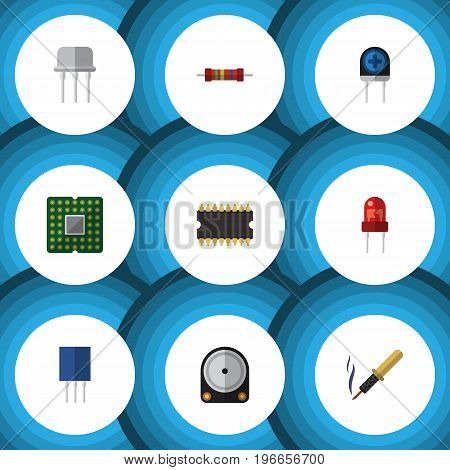 Flat Icon Electronics Set Of Repair, Microprocessor, Receptacle And Other Vector Objects