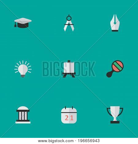 Elements Measurement Dividers, Nib, Goblet And Other Synonyms University, Calendar And Goblet.  Vector Illustration Set Of Simple Education Icons.