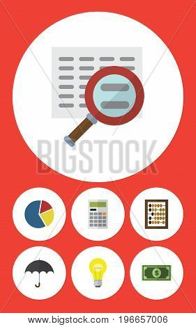 Flat Icon Finance Set Of Greenback, Parasol, Graph And Other Vector Objects