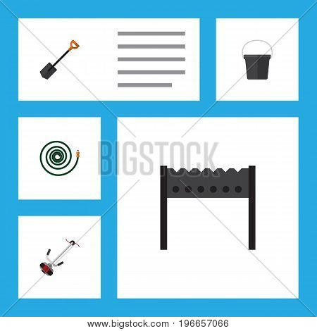 Flat Icon Garden Set Of Pail, Spade, Hosepipe And Other Vector Objects