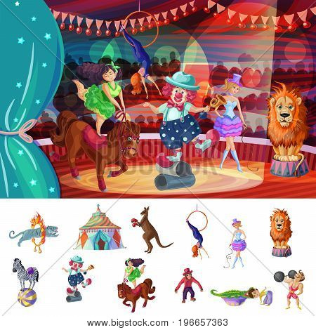 Cartoon colorful traveling circus composition with animal tricks tent acrobat clown strongman and trainer vector illustration