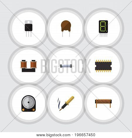 Flat Icon Electronics Set Of Resistor, Receiver, Coil Copper And Other Vector Objects