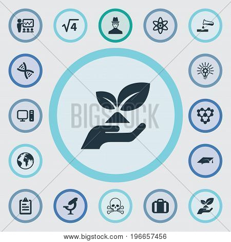 Elements Researcher, Graduation Hat, Atom And Other Synonyms Substance, Geography And Electronic.  Vector Illustration Set Of Simple Study Icons.