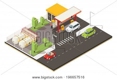 Isometric petrol fuel station concept with refilling cars barrels parking building and trees isolated vector illustration