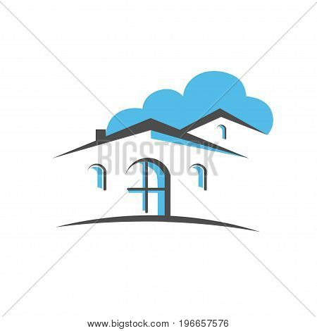real estate abstract logo, illustrations simple country homes logo concept