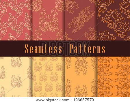 Vintage Seamless Pattern Set. Baroque Ornament. Retro Colors. Vector Illustration