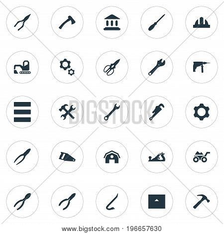 Elements Clipping Tool, Home, Saw And Other Synonyms Home, Chisel And Building.  Vector Illustration Set Of Simple Architecture Icons.