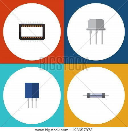 Flat Icon Appliance Set Of Resist, Mainframe, Resistor And Other Vector Objects