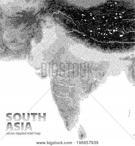 Vector stippled relief map of South Asia