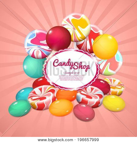 Realistic sweet products poster with colorful bright candies and lollipops on radial background vector illustration