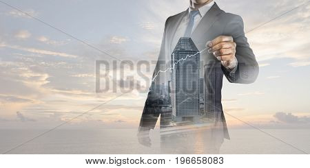 Businessman draw on screen