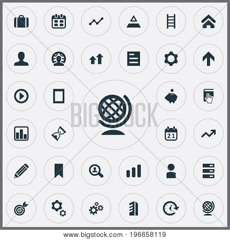 Elements Sandglass, Database, Gadget Synonyms Figure, Pyramid And Triangle.  Vector Illustration Set Of Simple Startup Icons.