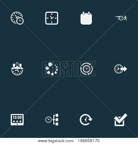 Elements Redirect, Approve, Deadline And Other Synonyms Tablet, Clock And Redirect.  Vector Illustration Set Of Simple Administration Icons.