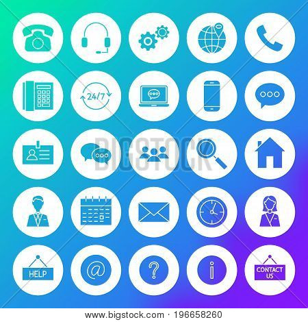 Contact Circle Solid Icons. Vector Illustration of Business Glyphs over Blurred Background.