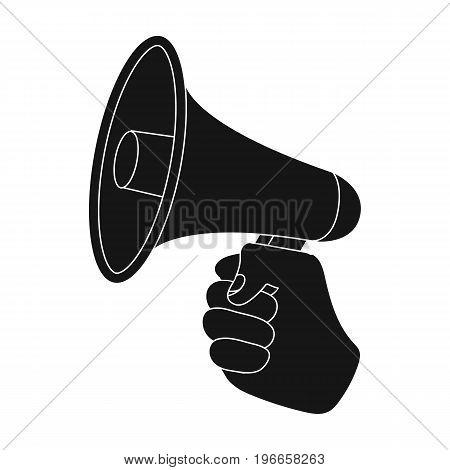 Speaker for voice enhancement. Megaphone in hand single icon in black style vector symbol stock illustration . poster