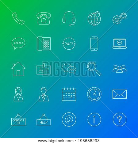 Contact Us Line Icons. Vector Illustration of Outline Business Symbols over Blurred Background.