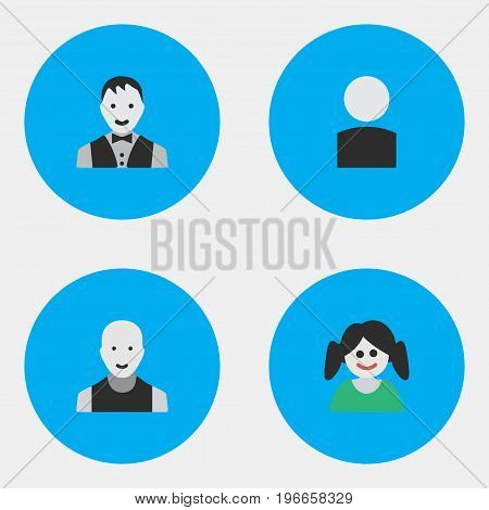 Elements Male, Avatar, Man And Other Synonyms Boy, Shape And Girl.  Vector Illustration Set Of Simple Person Icons.