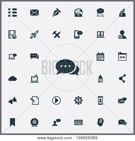 Elements Keypad, Valentine, Connection And Other Synonyms Admin, Writing And Earnings.  Vector Illustration Set Of Simple Blogging Icons.