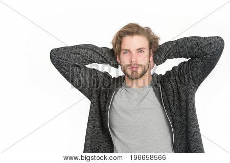Guy With Beard And Stylish Hair.