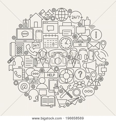 Contact Us Line Icons Circle. Vector Illustration of Business Outline Objects.