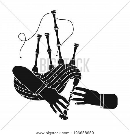 Playing the Scottish national bagpipe instrument. Bagpipe Wind Instruments single icon in black style vector symbol stock illustration .