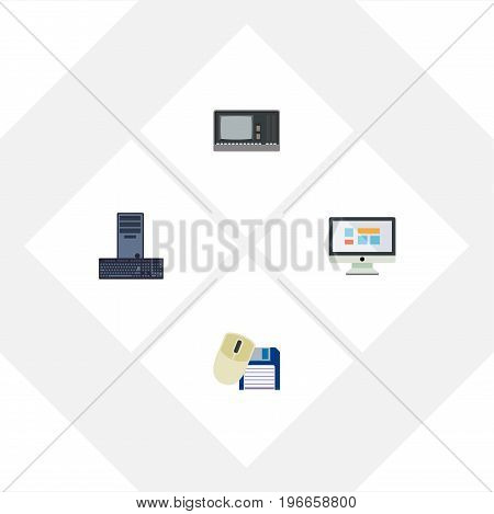Flat Icon Laptop Set Of Vintage Hardware, Computer Mouse, Display And Other Vector Objects