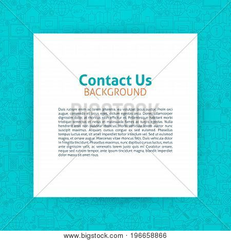 Contact Us Template. Vector Illustration of Paper over Business Outline Design.