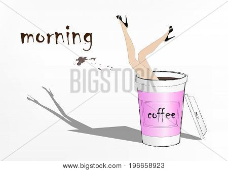 woman fell into the pink paper cup of coffee fashion vector illustration horizontal