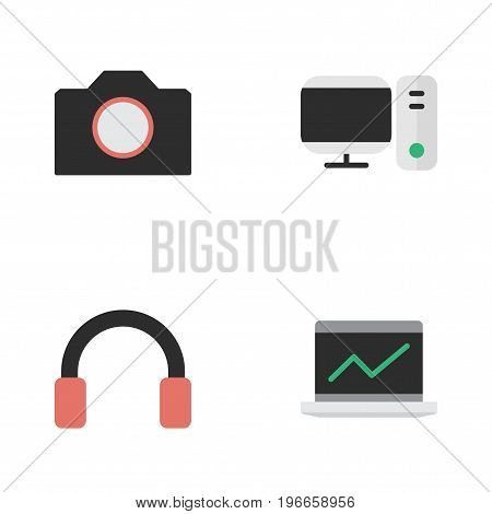 Elements Notebook, Photo Apparatus, PC And Other Synonyms Statistics, Headphone And Earphone.  Vector Illustration Set Of Simple Devices Icons.