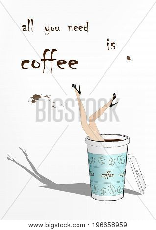woman fell into the blue paper cup of coffee, fashion vector illustration, vertical
