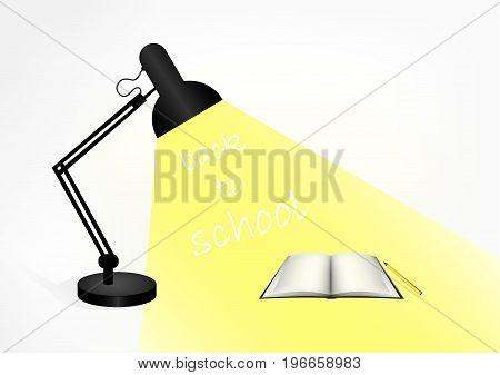 black table lamp, a book and a pencil on the table. In the light of the lamp text Back to school, horizontal