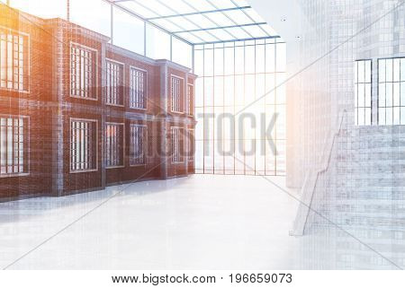 rick office wall with windows a large staircase and a panoramic window. Glass ceiling. Empty office hall. 3d rendering mock up toned image double exposure