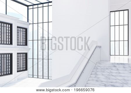 White brick office wall with windows a large staircase and a panoramic window. Glass ceiling. Empty office hall. Side view. 3d rendering mock up