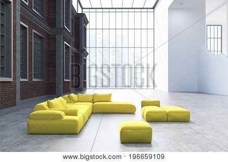 Office waiting area with a panoramic window yellow sofas and pouffes and a black wall with windows in it. 3d rendering mock up