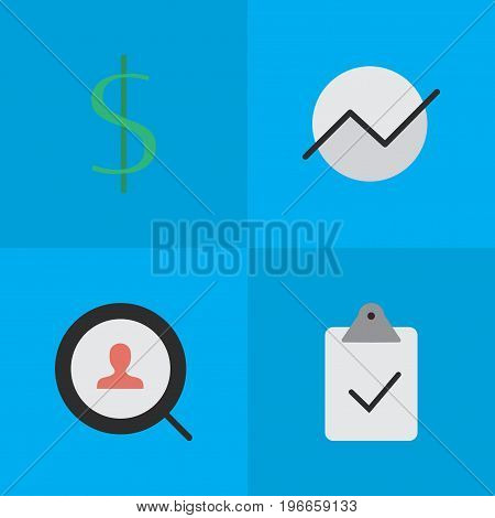 Elements Diagram, Magnifier, Dollar And Other Synonyms Dollar, Diagram And Done.  Vector Illustration Set Of Simple Business Icons.